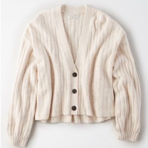 American Eagle Ribbed Cropped Puff Sleeve Cardigan